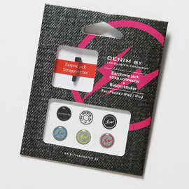DENIM BY VANQUISH & FRAGMENT - Earphone jack strap connector & Button sticker for iPhone