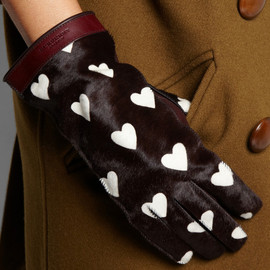 BURBERRY PRORSUM - Heart-print calf hair gloves