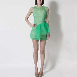 Simone Rocha - Simone Rocha - Neon Green Frill Dress
