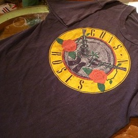 """FRUIT OF THE LOOM - 「<used>80's FRUIT OF THE LOOM """"GUNS N' ROSES""""TEE black""""made in USA"""" size:L 7800yen」完売"""