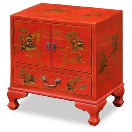 ChinaFurnitureOnline - Chinoiserie Scenery Design Lamp Table - Red