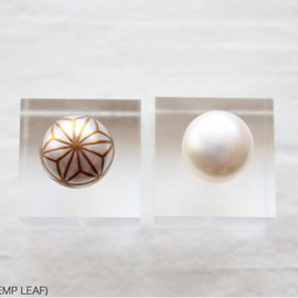 "Maki-e Pearl Pierced Earrings ""ASANOHA"""