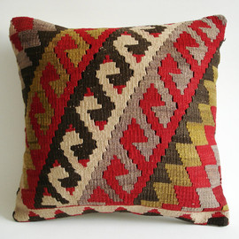 Sukan - Organic Shine Society Modern Bohemian Throw Pillow. Handwoven Wool Vintage Tribal Turkish Kilim Pillow Cover - 16x16
