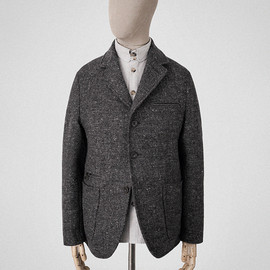 s.e.h kelly - Granite-grey Tetris-tweed blazer