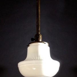 "アメリカン・アンティーク - 1910-20's ""Milk Glass"" School House Ceiling Light"