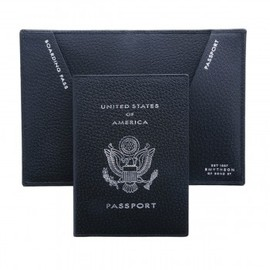 SMYTHSON - USA Crest Passport Cover, Black Pigskin Collection - Smythson -