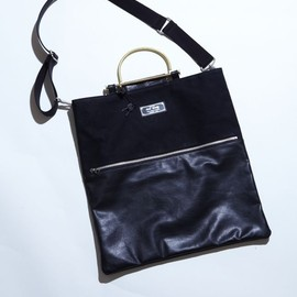 RockSteady×PORTER - RSW LEATHER & COTTON SHOULDER BAG black
