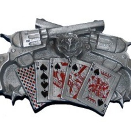 Belt Buckle - Guns Royal Flush Cards Belt Buckle