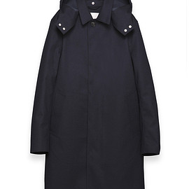 mackintosh - GR 010 - GY02NAVY FLANNELrubberised wool single-breasted coat with detachable hood