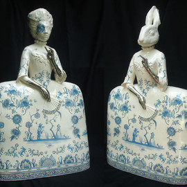 Claire Partington - Girl with the silver hands, 2010, ceramics