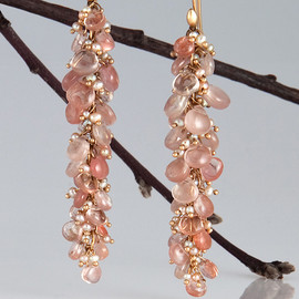Ted Muehling - large pussiwillow earrings with sunstone and pink keshi pearls