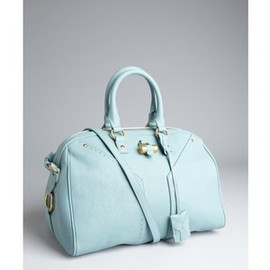 YVES SAINT-LAURENT - YSL Sky Blue Leather Muse Bowler Convertible Satchel