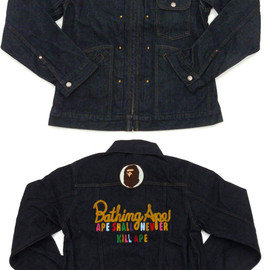 A BATHING APE - CHAMPION DENIM JACKET