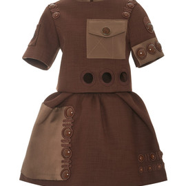 MARC JACOBS - SS2015 Rust Dress With Pave Button Detail