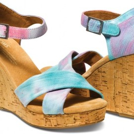 TOMS - Pink and Blue Tie Dye Women's Strappy Wedges
