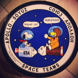 "Apollo-Soyuz test project - ""SPACE TEAMS"" patch with NASA's snoopy and the Russia Soyuz Bear"