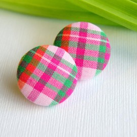 Luulla - Pink Plaid with Orange and Green Stripes Button Earrings