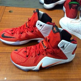 Nike - NIKE LEBRON 12 RED/WHITE-CRIMSON-BLACK