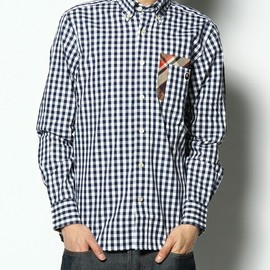A BATHING APE - W POCKET BAPE CHECK X GINGHAM CHECK BD SHIRT