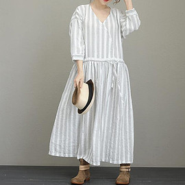 striped dresses - Loose striped dresses for women Pocket dress Holiday dress women festival dress