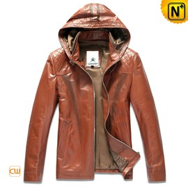 CWMALLS - Hooded Genuine Leather Jacket Mens CW866102
