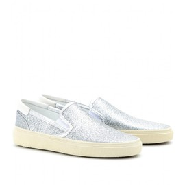 SAINT LAURENT - GLITTER-COVERED SLIP-ON SNEAKERS