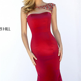 Sherri Hill 32351 - Sherri Hill 32351 Beaded Sleeved Backless Red Mermaid Prom Dress 2016