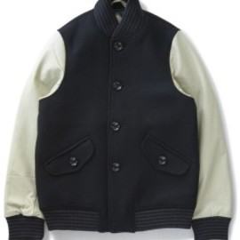 bal - Leather Sleeve Varsity Jacket (black)