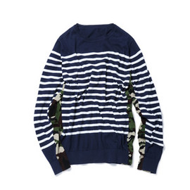 SOPHNET. - SIDE PANEL CAMOUFLAGE PANEL BORDER CREW NECK KNIT/navy
