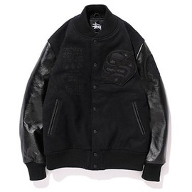 Stussy, BBP, KING OF DIGGIN' PRODUCTION - Crate Digger Varsity Jacket - Black