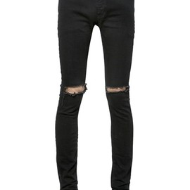 SAINT LAURENT PARIS - 15CM SKINNY DESTROYED COTTON DENIM