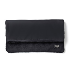 "HEAD PORTER - ""DUPLEX"" CLUTCH BAG BLACK"