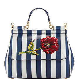 DOLCE&GABBANA - SS2016 Sicily Stripe Top Handle Bag With Needlepoint Flower