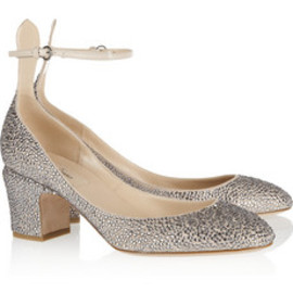 VALENTINO - Crystal-embellished suede pumps
