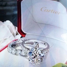 Cartier - Engagement Ring with Diamond Wrapped Wedding Band