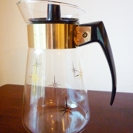 1960s Coffee Carafe With Retro Starbursts Vintage Corning