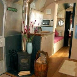 Airstream camper...with wood stove!