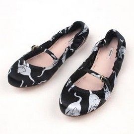 miu miu - cat print flats shoes