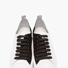 ANN DEMEULEMEESTER - Grey Bi-Color Suede Low-Top Sneakers