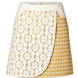 MOSCHINO CHEAP AND CHIC - Mixed-Media Skirt in Yellow