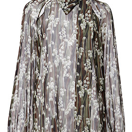 GIAMBA - Pre-Fall 2015 Lily Of The Valley Bow Neck Blouse