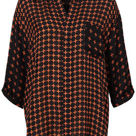 TOPSHOP - Cross Print Roll Sleeve Shirt by Unique