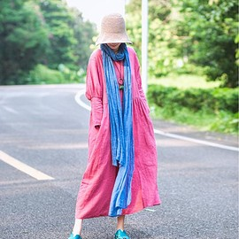 ETSY - Pink woman Soft Long Robes Casual Loose Linen summer dresses image 0