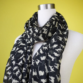 prototypedesign  - Cat print scarf black cat scarf chiffon scarf causal long scarf shawl belt white cat in black