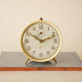 smi - smi/alarm clock/ivory and maroon/france 1950s