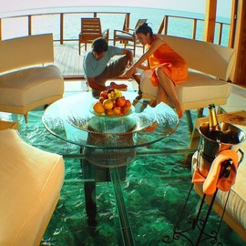 Maldives - In this glass floor ocean cottage in the Maldives.