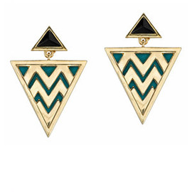 HOUSE OF HARLOW 1960 - HOUSE OF HARLOW Leather Gold Tribal earrings