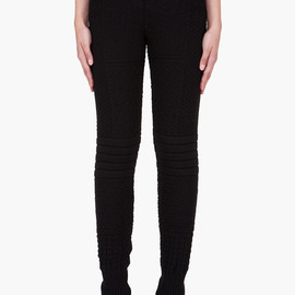 MM6 MAISON MARTIN MARGIELA - Black Knit Wool Lounge Pants