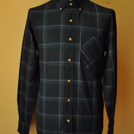 ADAM KIMMEL carhartt - LONG COLLAR SHIRT FLANNEL col.BLACK PLAID AKS18