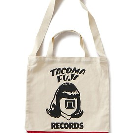 TACOMA FUJI RECORDS - TACOMA FUJI Logo Tote bag (natural/red)